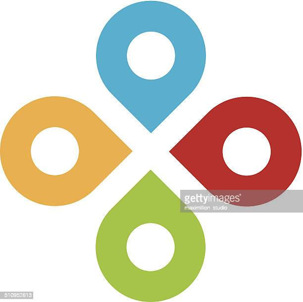 global partnership positioning system network logo icon set - four objects stock illustrations
