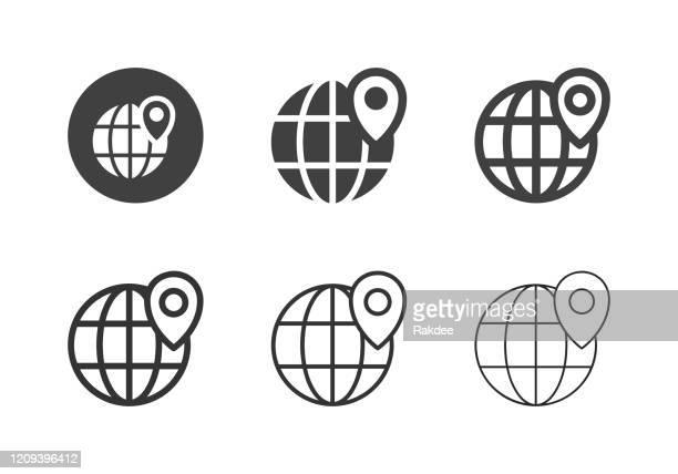 global positioning icons - multi-serie - international landmark stock-grafiken, -clipart, -cartoons und -symbole