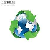 Global Recycle, Arrow around the globe.vector
