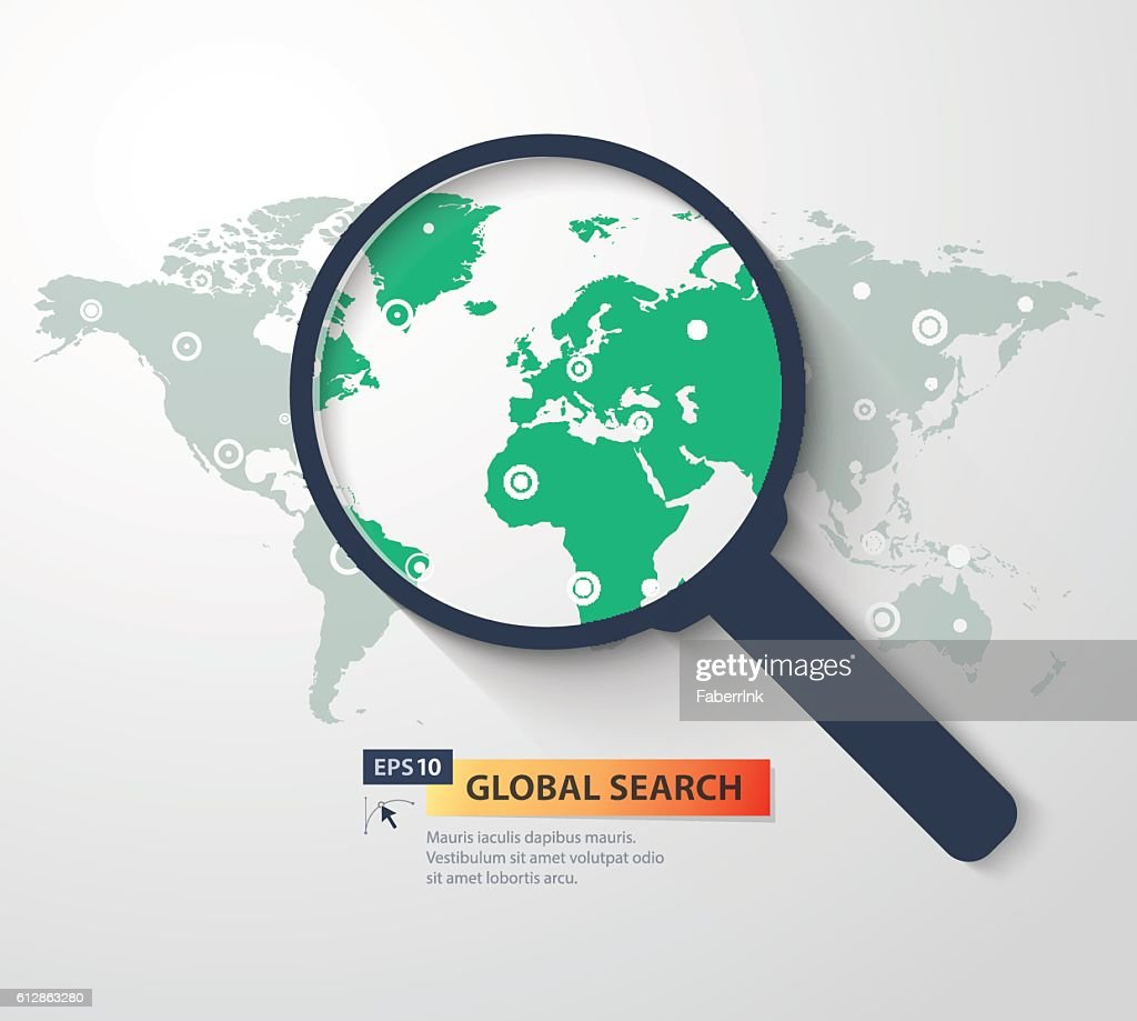 Global search concept in flat style. Vector illustration