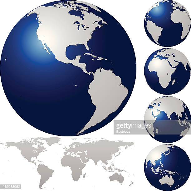 global set with map series - pacific ocean stock illustrations, clip art, cartoons, & icons
