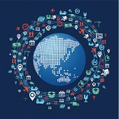 Global Shipping concept icons network around planet Earth, Asia continent.
