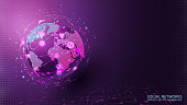 Global social network. Internet and technology. Virtual reality and modern science. Violet futuristic background with planet Earth. Vector.