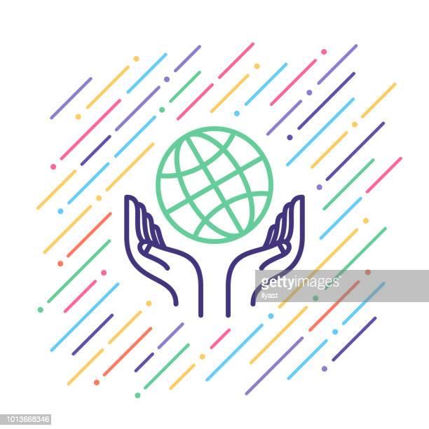 Weltweiter Support Liniensymbol