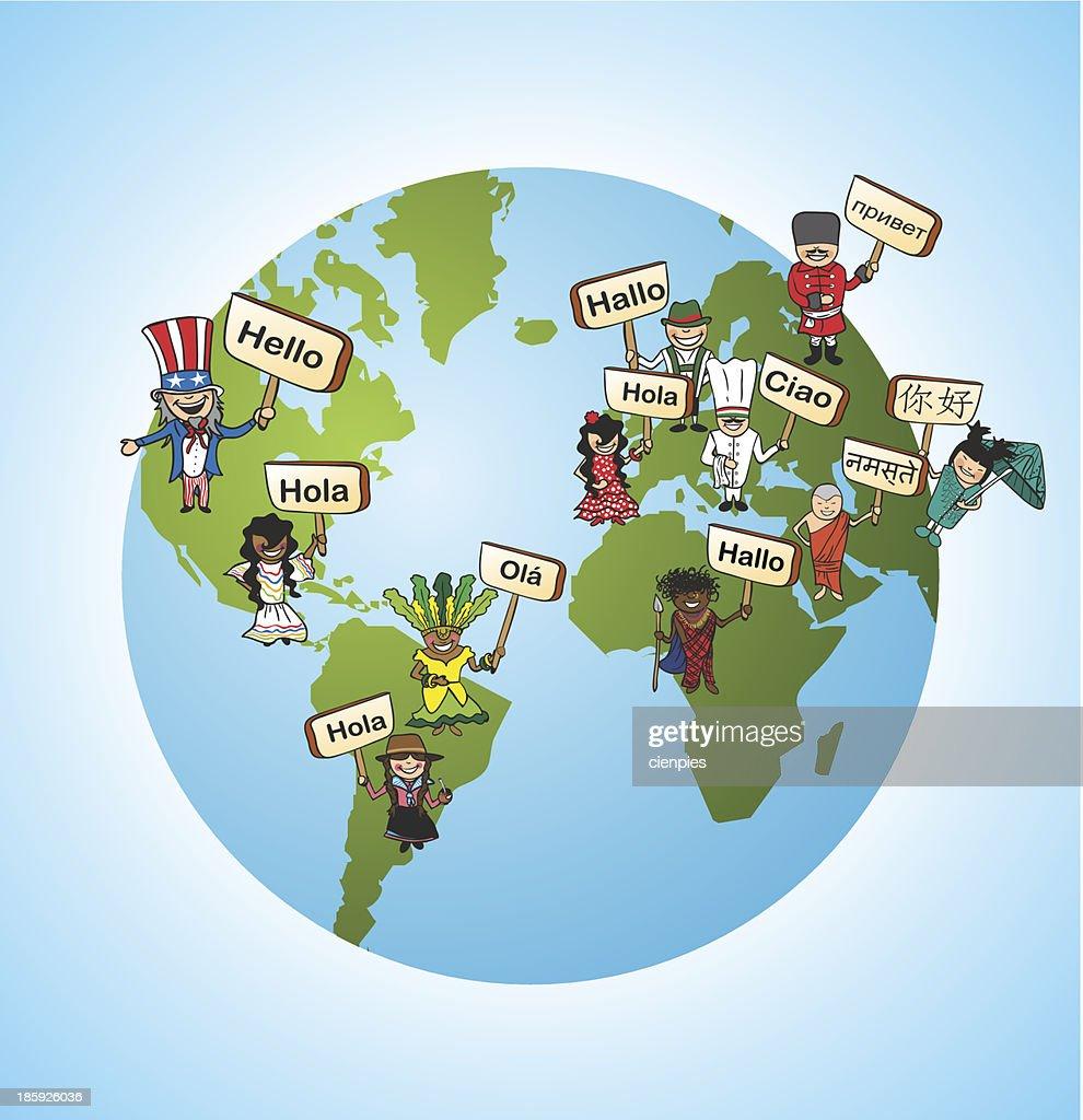 Global translaWorld diversity online language translation app concept background.
