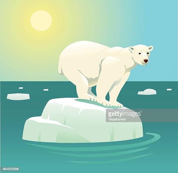 illustrations, cliparts, dessins animés et icônes de réchauffement de la planète et ours polaire sur la banquise flottante - ours polaire