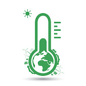 Global Warming, Ecological Problems - Thermometer Icon Design Concept