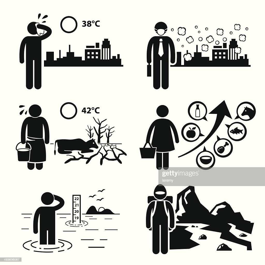 Global Warming Greenhouse Effects Icons Cliparts