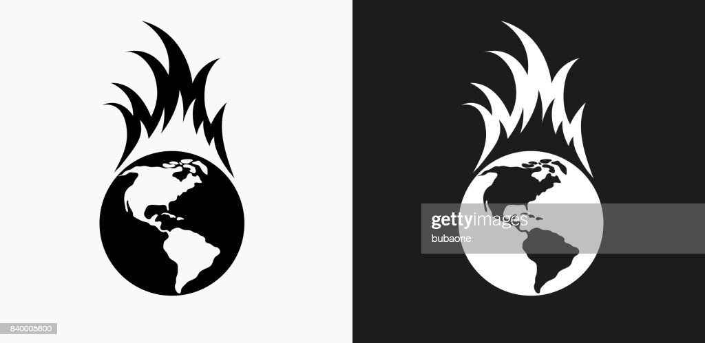 Global Warming Icon On Black And White Vector Backgrounds Vector Art