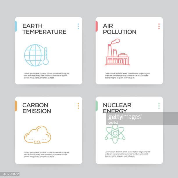 illustrations, cliparts, dessins animés et icônes de modèle de conception infographique réchauffement global - pollution