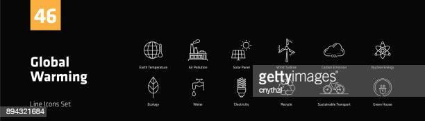 Global Warming Line Icons Set