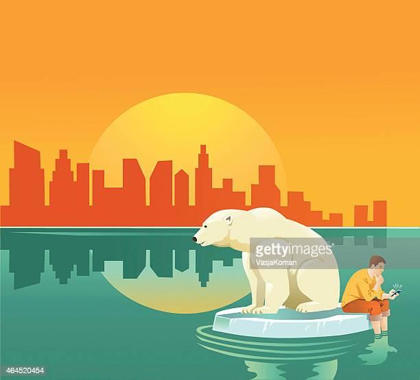 Aquecimento Global-Homem e Urso Polar em Massa de Gelo Flutuante
