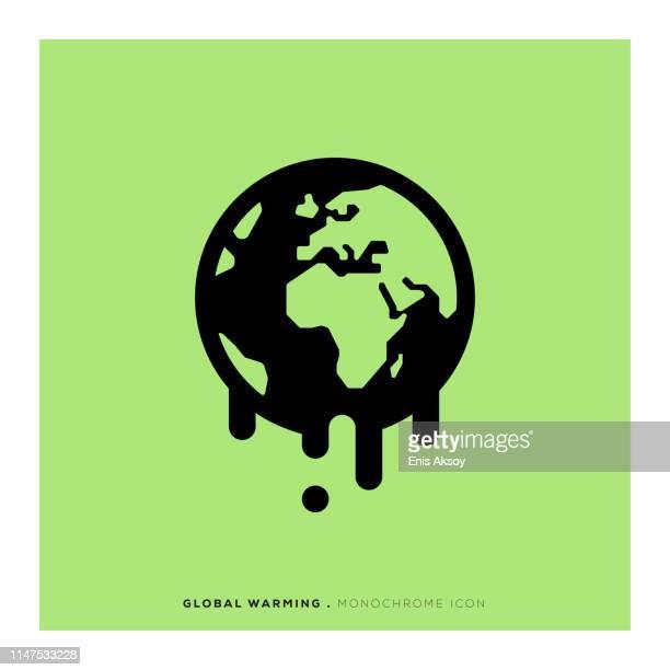 bildbanksillustrationer, clip art samt tecknat material och ikoner med monokrom ikon för global uppvärmning - klimatförändring