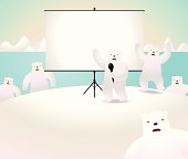 Global Warming: Polar bears showing something on projection screen