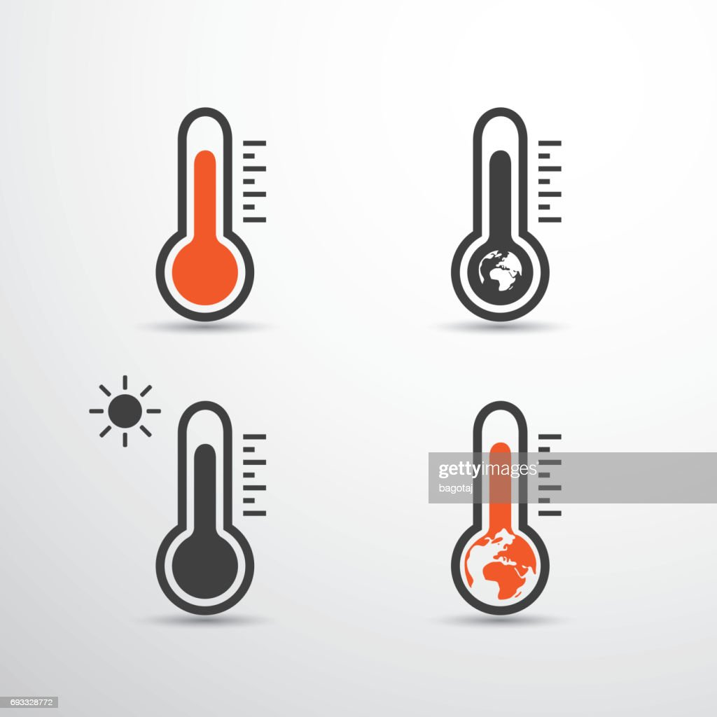 Global Warming, Pollution, Ecological Problems - Thermometer Icons Design