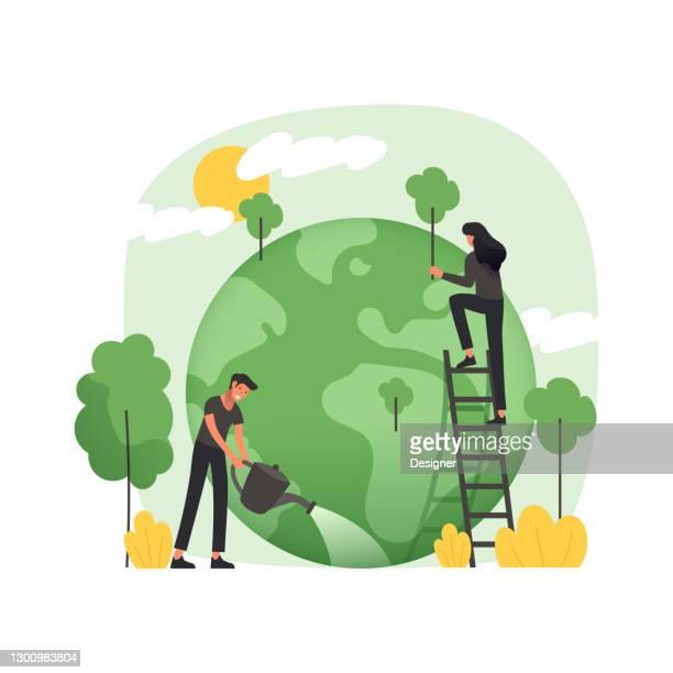 illustrazioni stock, clip art, cartoni animati e icone di tendenza di illustrazione vettoriale in stile piatto moderno legata al riscaldamento globale - calore concetto