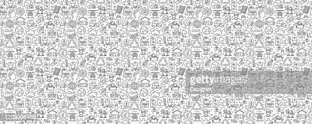 ilustrações de stock, clip art, desenhos animados e ícones de global warming related seamless pattern and background with line icons - desmatamento