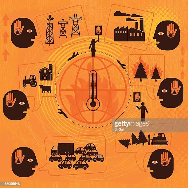 ilustrações de stock, clip art, desenhos animados e ícones de aquecimento global - desmatamento