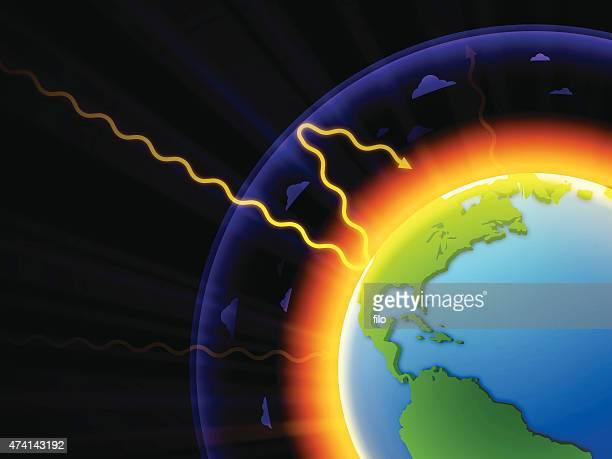 ilustraciones, imágenes clip art, dibujos animados e iconos de stock de el calentamiento global - gas de efecto invernadero