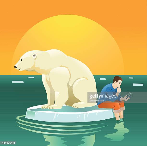 Global Warming with Man and Polar Bear on Ice Floe