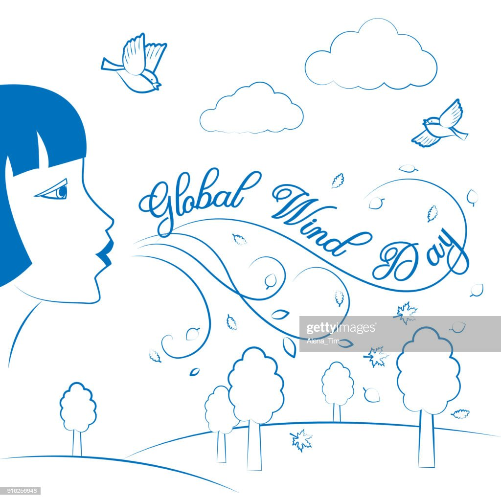 Global Wind Day. June 15. Vector illustration for holiday