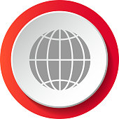 Globe - 3d button isolated on white background. Vector.