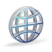 Globe 3d Glossy Vector Icon Design