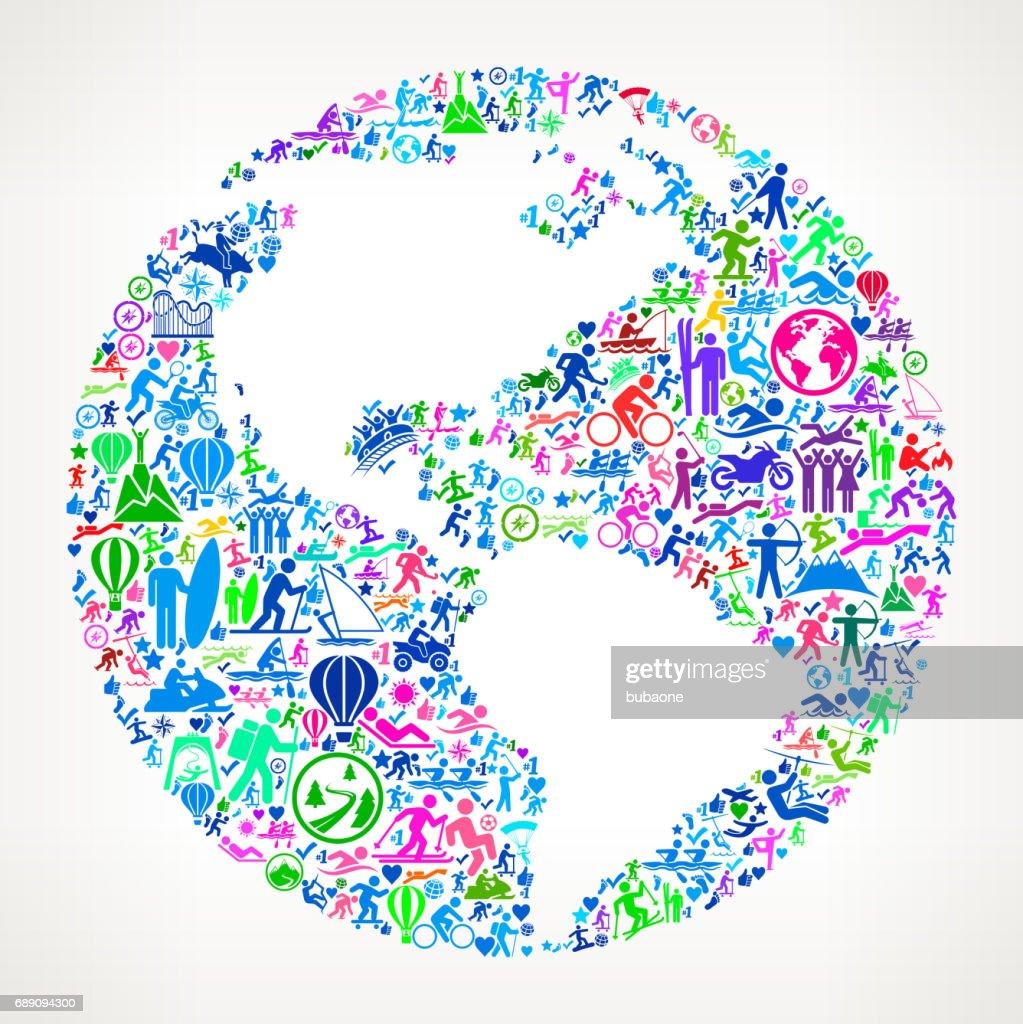 Globe  Active Lifestyle Vector Icon Pattern : Stock Illustration