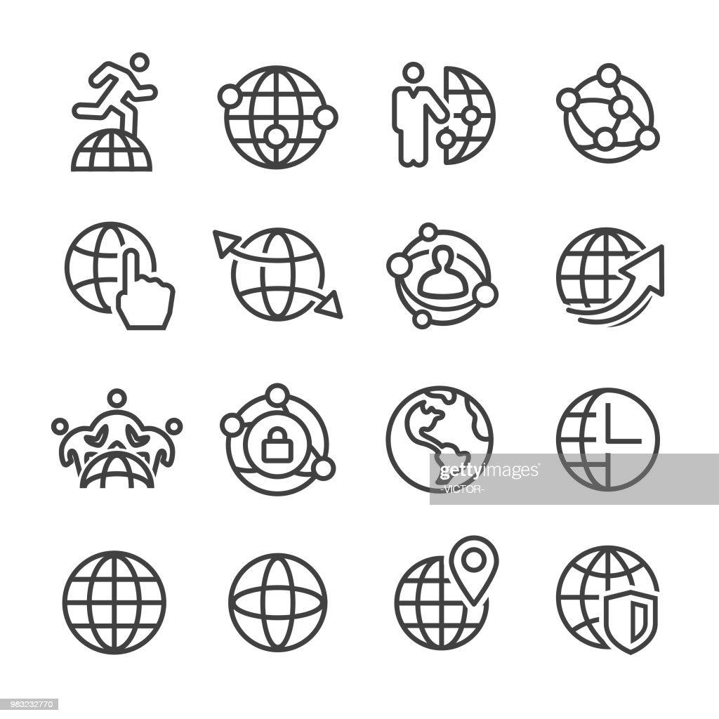 Globe and Communication Icon - Line Series : stock illustration