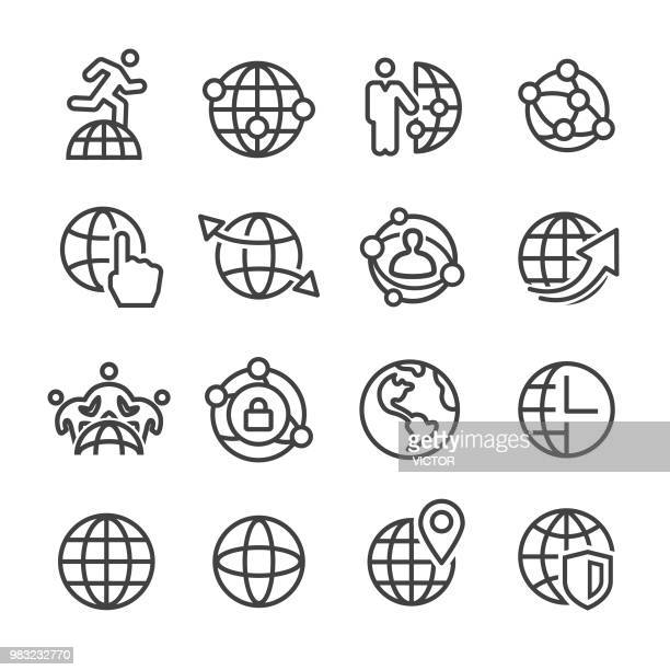 Globe and Communication Icon - Line Series