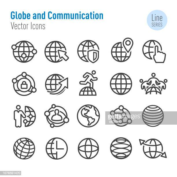 Globe en communicatie Icon - Vector Line serie
