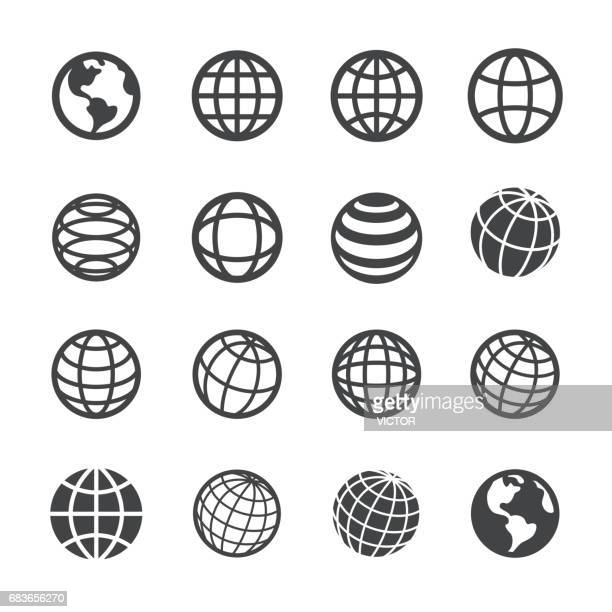 globe and communication icons - acme series - global stock illustrations