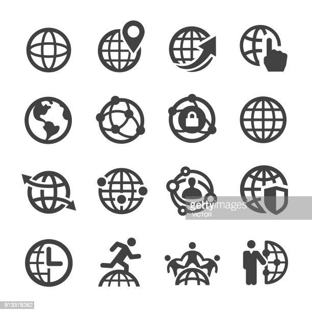 illustrazioni stock, clip art, cartoni animati e icone di tendenza di globe and communication icons - acme series - globo terrestre