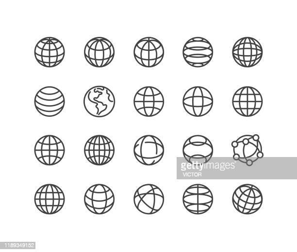 illustrazioni stock, clip art, cartoni animati e icone di tendenza di icone del globo e della comunicazione - serie linea classica - modalità wire frame