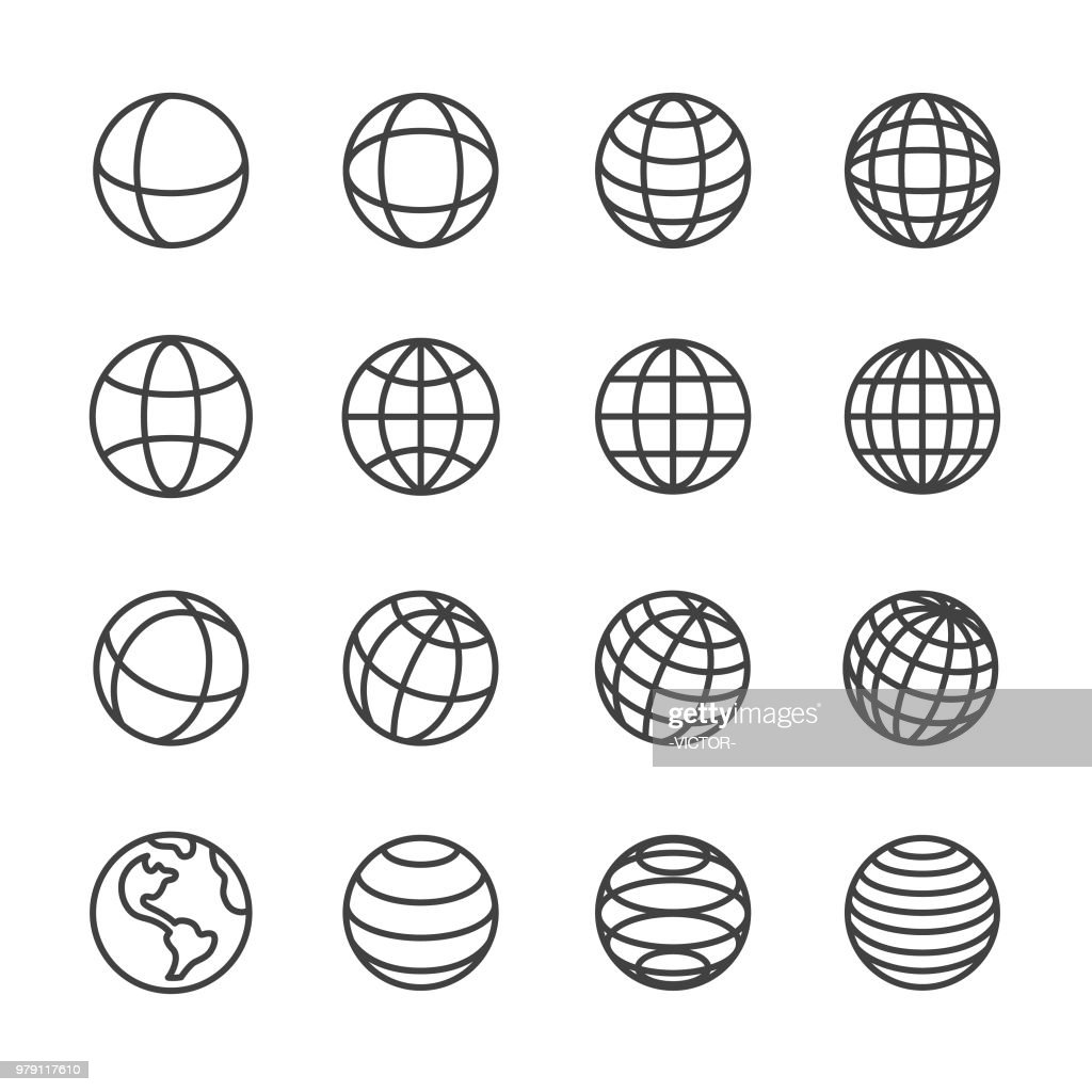 Globe and Communication Icons - Line Series : stock illustration