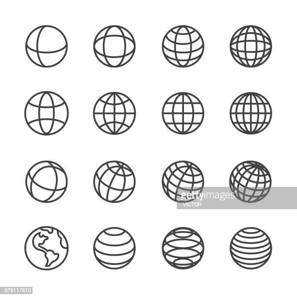 Globe and Communication Icons - Line Series