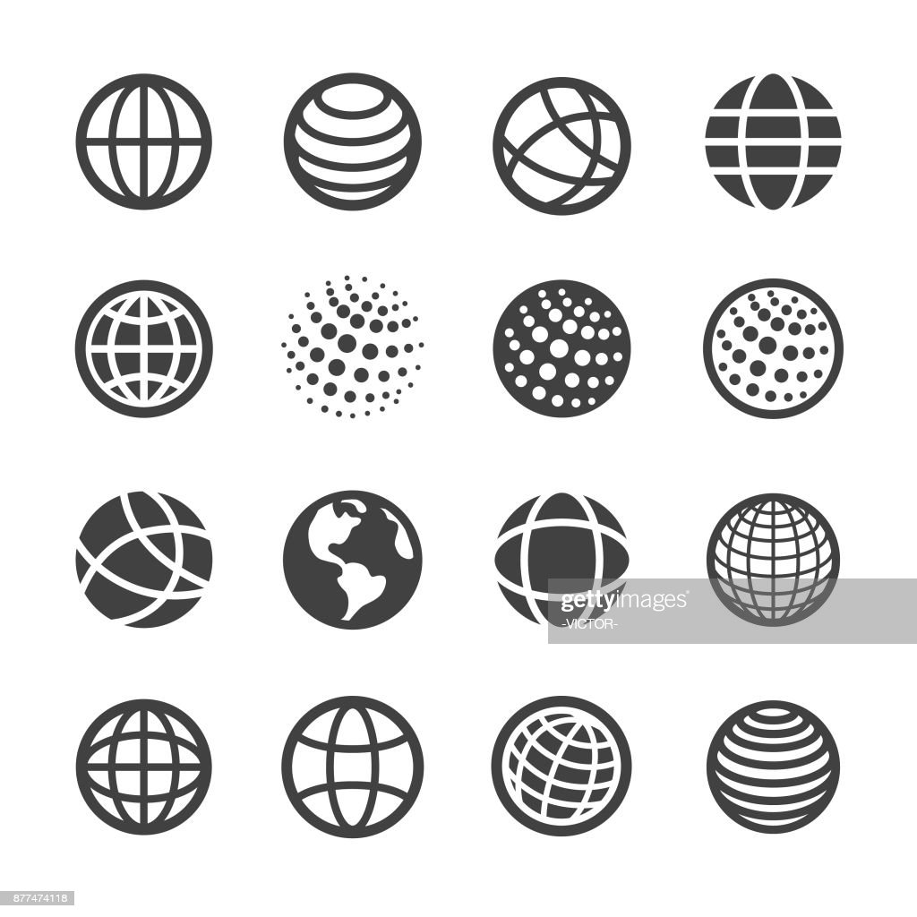 Globe and Communication Icons Set - Acme Series : stock illustration