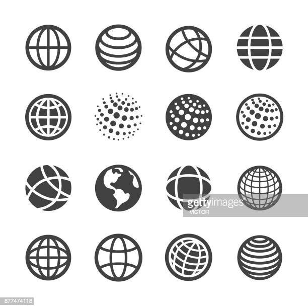 globe and communication icons set - acme series - variation stock illustrations