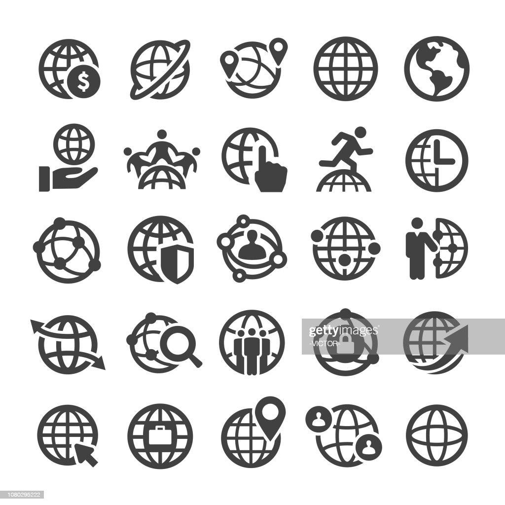 Globe and Communication Icons Set - Smart Series : stock illustration