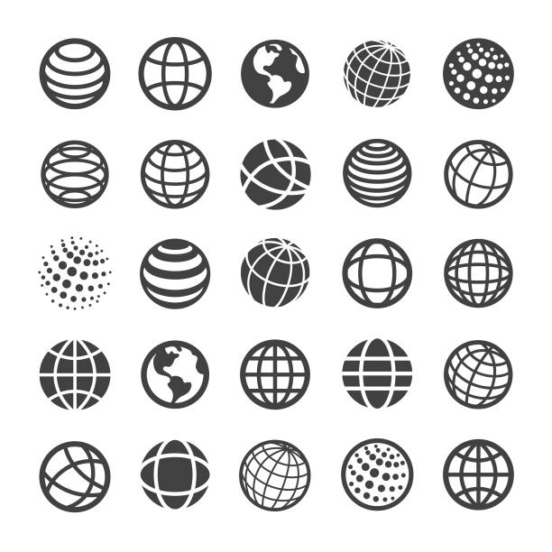 globe and communication icons - smart series - vector stock illustrations