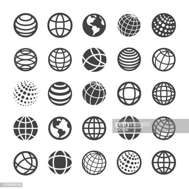 globe and communication icons - smart series - planet space stock illustrations