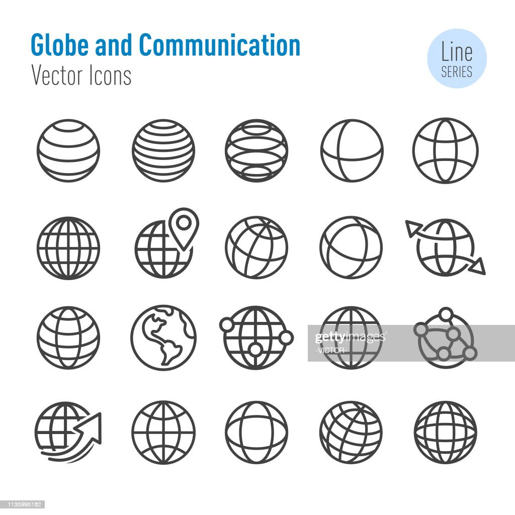 Globe and Communication Icons - Vector Line Series : stock illustration
