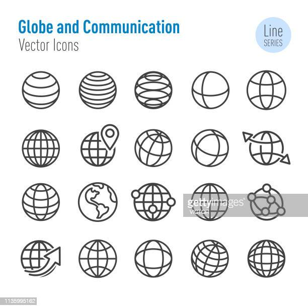 globe and communication icons-vector line series - global stock-grafiken, -clipart, -cartoons und -symbole