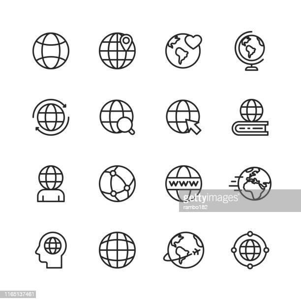 globe and communication line icons. editable stroke. pixel perfect. for mobile and web. contains such icons as globe, map, navigation, global business, global communication. - www stock illustrations