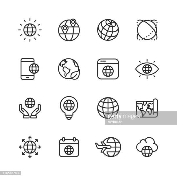 globe and communication line icons. editable stroke. pixel perfect. for mobile and web. contains such icons as globe, map, navigation, global business, global communication. - two dimensional shape stock illustrations