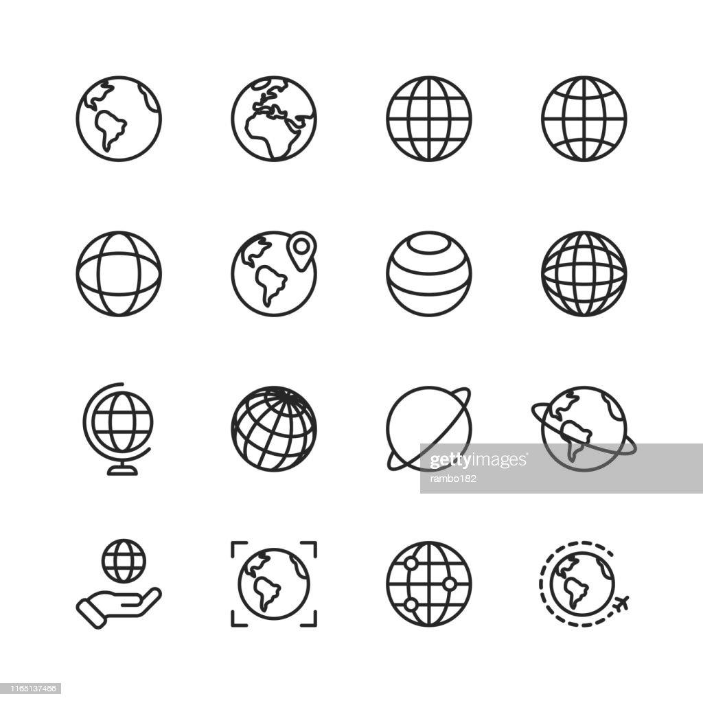 Icone di linee di globo e comunicazione. Tratto modificabile. Pixel Perfetto. Per dispositivi mobili e Web. Contiene icone come Globo, Mappa, Navigazione, Business globale, Comunicazione globale. : Illustrazione stock