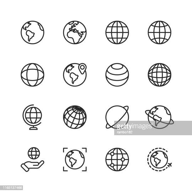 illustrazioni stock, clip art, cartoni animati e icone di tendenza di globe and communication line icons. editable stroke. pixel perfect. for mobile and web. contains such icons as globe, map, navigation, global business, global communication. - pianeta terra