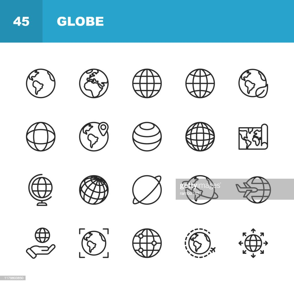 Globe and Communication Line Icons. Editable Stroke. Pixel Perfect. For Mobile and Web. Contains such icons as Globe, Map, Navigation, Global Business, Global Communication. : Stock Illustration