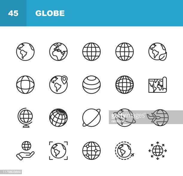 illustrazioni stock, clip art, cartoni animati e icone di tendenza di globe and communication line icons. editable stroke. pixel perfect. for mobile and web. contains such icons as globe, map, navigation, global business, global communication. - globo terrestre