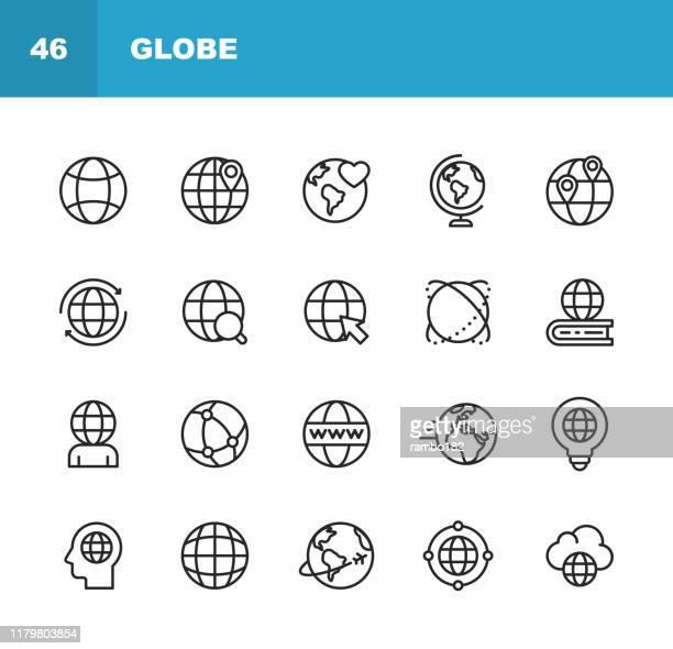 ilustrações, clipart, desenhos animados e ícones de globo e ícones da linha de uma comunicação. traçado editável. pixel perfeito. para mobile e web. contém ícones como globe, mapa, navegação, global business, global communication. - ponteiro do mouse
